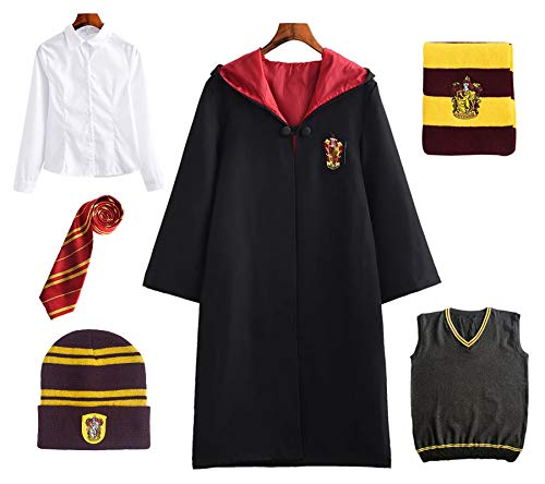 FStory&Winyee Harry Potter Kostüm Kinder Erwachsene Umhang Unisex Gryffindor Hufflepuff Ravenclaw Slytherin Cosplay Outfit Set Cape,Krawatte,Hemd,Weste,Schal,Mütze Fasching