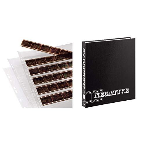 Hama Negative Sleeves, 24 x 36 mm, Polyproylene, 310 mm, 260 mm, Polipropileno (Importado) + 9003 Archivador de Negativos con Anillas (265 x 315 mm), Negro