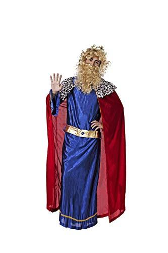 Costumizate! Disfraz de Rey Mago Azul con Tunica roja para Hombre Adulto Talla Unica Especial de Navidad