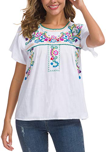YZXDORWJ Women's Embroidered Mexican Peasant Blouse (3XL, B169-W)