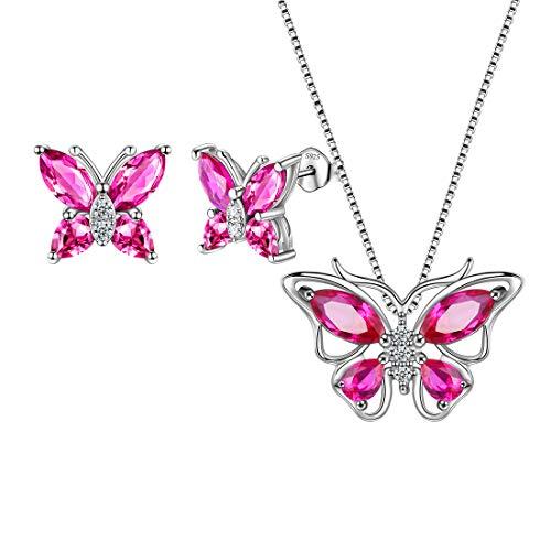 Aurora Tears, collana e orecchini in argento Sterling 925, con ciondolo a forma di farfalla, ideale come regalo per donne e ragazze e Set con collana, orecchini, colore: G.red-ruby, cod. DS0035R-EU