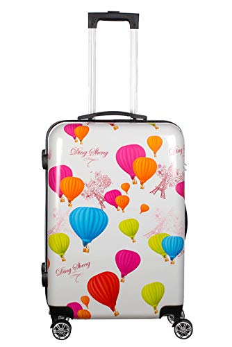 Birendy Reisekoffer Polycarbonat Hartschalen Hardcase Trolley mit Zahlenschloss Koffer Kofferset 4 Rollen einfacher Transport (90-Ballons Paris, Koffer XL...