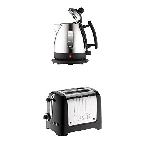 Dualit 72200 Jug Kettle, 1 Liter, Stainless Steel and Black Finish & Dualit 2-Slot Lite Toaster, Black Gloss