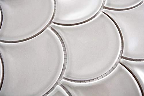 Mozaïek tegel keramiek grijs waaiers steengrijs glanzend Formaat: 98x98x5 mm, booggrootte: 60 x 100 mm, 1 handmonster ca. 6 x 10 cm.