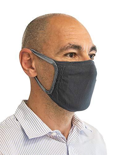 Relaxsan - SET 3 [grigio sc.] Fasce filtranti viso bocca naso lavabili riutilizzabili assorbenti tessuto batteriostatico