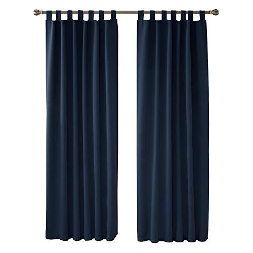 Deconovo Soft Solid Tab Top Curtains Thermal Insulated Blackout Curtains for Boys Bedroom 140x175cm Navy Blue ONE Pair