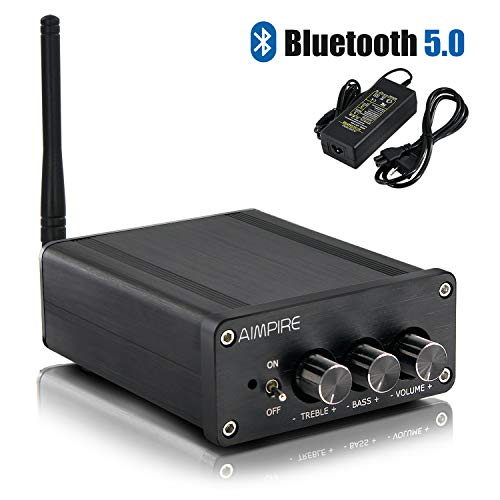 Bluetooth Mini Amplifier Audio Amp - Stereo Integrated 2 Channel Desktop Amps Class D Bluetooth 5.0 Home Amplifiers Bass and Treble Control, TPA3116 for Active Speakers 100W x 2 (with Power Supply)