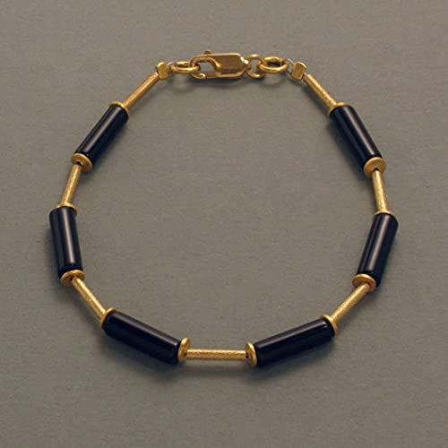 Pulsera de piedra preciosa negra, bañada en oro