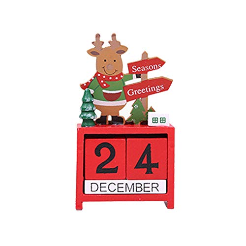 Houten eeuwige kalender - Kerstmis Houten Adventskalender met datumblokken Nieuwigheid Kerstmis Stocking Filler cadeau leuk cadeau voor volwassenen, kinderen, jongens, meisjes