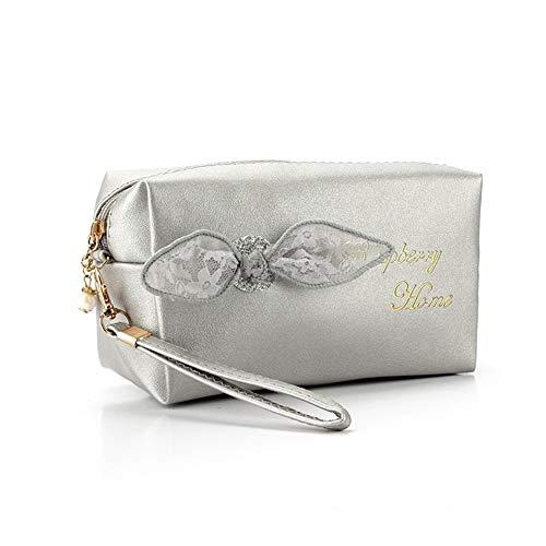 Portable Dentelle Bow Design Sacs cosmétiques femmes usage quotidien maquillage mignon sac de mode des filles Bow Noeud Femme Zipper sac de cosmétiques Pour le stockage (Color : Silver)
