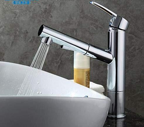 Modern huis keuken en badkamer kraan Pull Basin Kraan warm en koud-koper Telescopische shampooing Basin in het publiek met regen douchebak mixer