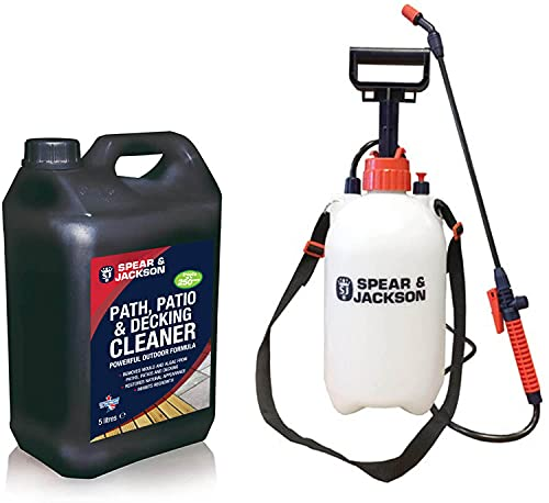 Spear and Jackson - 5L Path and Patio Cleaner - 5L Pressure Sprayer - Concentrated Patio Cleaner - Pressure Washer Detergent - Lichen Control - Biodegradable
