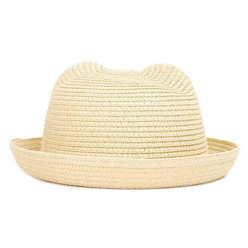 WAZHX Lindo Sombrero para El Sol para Niños Primavera Verano Niño Niña Niños Bebé Sombrero De Paja Gorra De Verano Sombreros De Panamá Oreja Sombreros De Playa Caqui-3