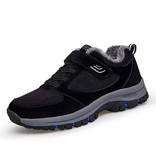 [ZUBOK] スニーカー メンズ レディース 介護シューズ 高齢者シューズ 安全靴 マジックテープ 外反母趾 通気性 柔軟性 メッシュ 中高齢者靴 (26cm, 黒と青(コットン))