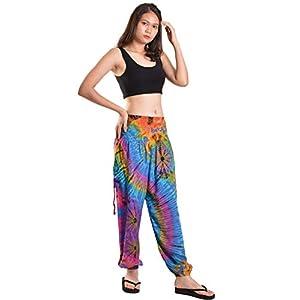 Orient Trail Pantalones harén hippie bohemios Palazzo Yoga con parte inferior fruncida y teñido anudado para mujer | DeHippies.com