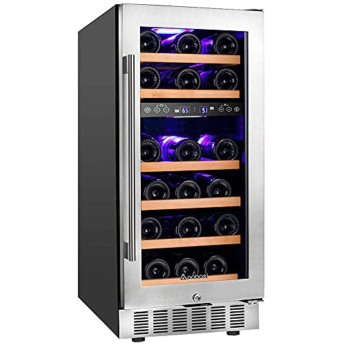 【Upgraded】Aobosi 15 Inch Wine Cooler, 28 Bottle Dual Zone Wine Refrigerator with Stainless Steel...