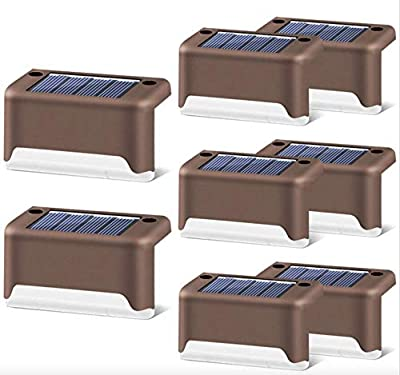 JHBOX Solar Deck Lights Outdoor, 8 Pack LED Waterproof Solar Fence Lights, Outdoor Lighting Products for Fences, Deck, Porch, Stair, Yard, Patio, Garden, Backyard, Pathway and Driveway (Warm White)