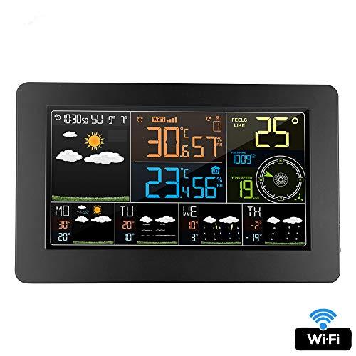 ALRY Digital Wecker Wanduhr Wetterstation WiFi Indoor Outdoor Temperatur Luftfeuchtigkeit Druck Wind Wettervorhersage LCD