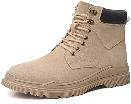Zapatos Hombre Botines for Hombres Botas De Trabajo De Encaje Hasta Gamuza Suela De Goma Cosido Al Aire Libre Del Top Del Alto Del Collar Redondo Del Dedo Del Pie De La Hebilla Contraste Calentamiento