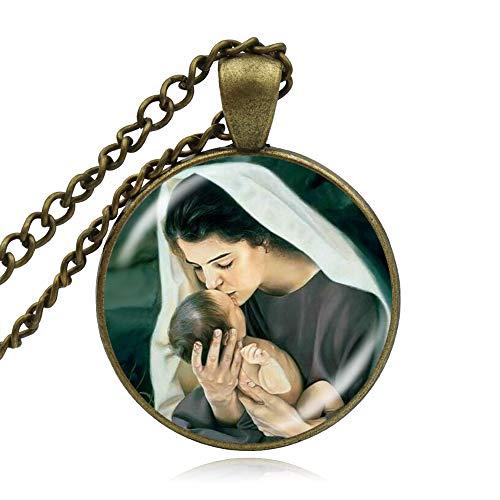 Jungfrau Maria mit Kind Anhänger Halskette Glasdruck Schmuck Mutter des Babys Jesus Christus christlich katholisch religiös
