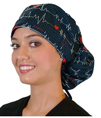 Big Hair Women's Medical Scrub Caps Surgical Caps - Heartbeats on Navy