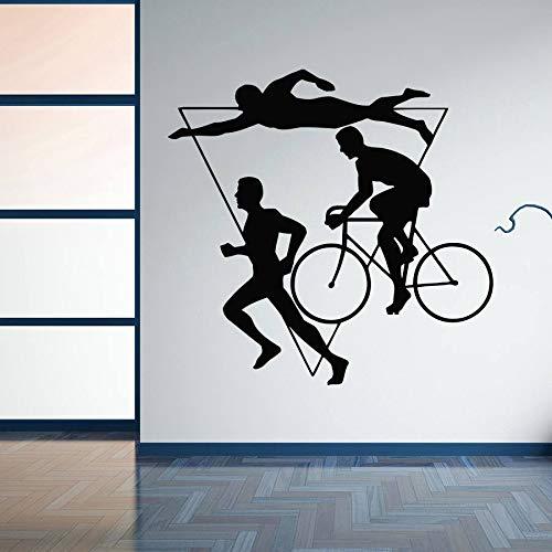 yaonuli Decoratie Triathlon Vinyl muursticker meertraps atletiek wedstrijd muursticker zwemmen fiets lopen