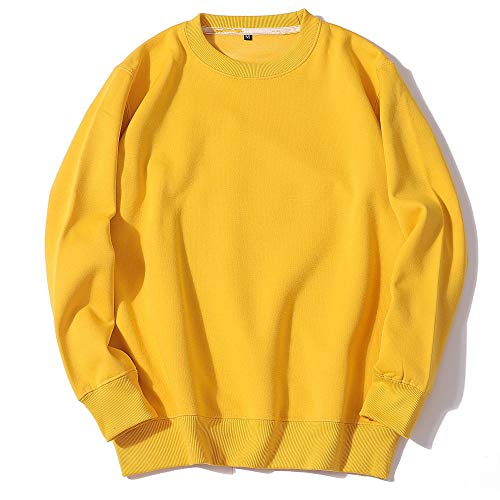 Top Baggy Comfy Blouse Print Sweatshirt Men's Crewneck Cotton Sweater M Yellow
