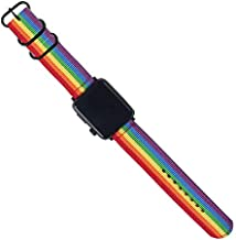 20mm Universal Ballistic Watch Band, CNYMANY Nylon Canvas Woven Loop Replacement Strap Wristband Buckle Fastener Adjustable Closure for Smart-Watch Sport Fitness Tracker - Rainbow