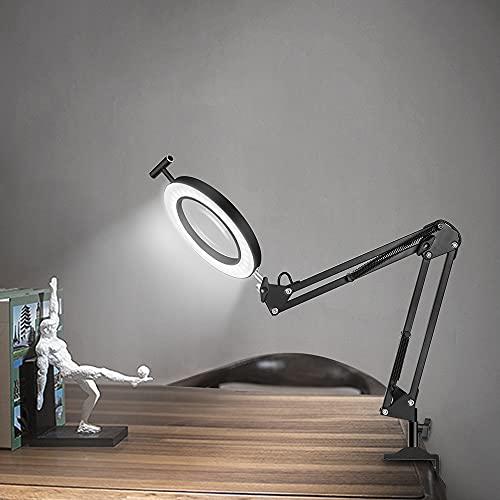Lampe de bureau loupe avec pince,FUUCOK LED Lampe Loupe avec 3 couleurs avec bras pivotant Réglable pour la lecture de l'artisanat de reprise ou de l'établi