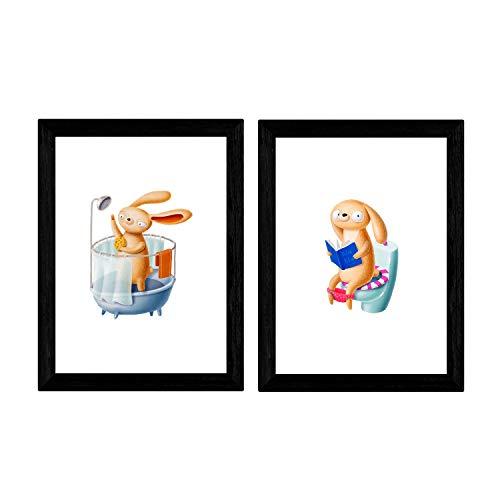 Set van 2 vellen educatieve konijnen in de douche en in A3-formaat, posterpapier 250 gr plas van hoge kwaliteit. frameloze