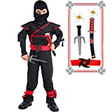Kids Ninja Costume Halloween Costumes for Boys Ninja Toys with Ninja Foam Accessories Boys Dress up Best Gifts