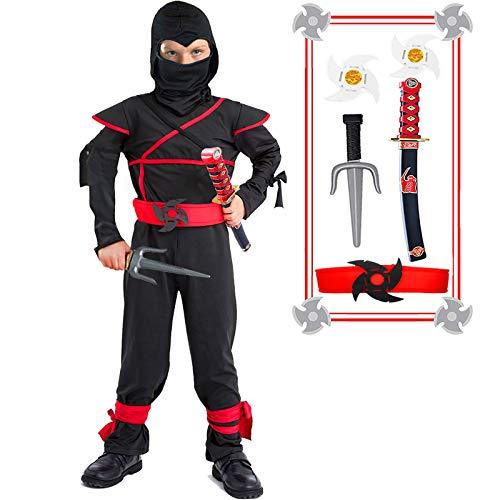 Kids Ninja Costume Halloween Costumes for Boys Ninja Toys with Ninja Foam Accessories Boys Dress up Best Gifts