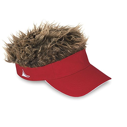 Flair Hair Mens - Visor Cap Fake Hair Wig Novelty Gift With Red & Brown Hair