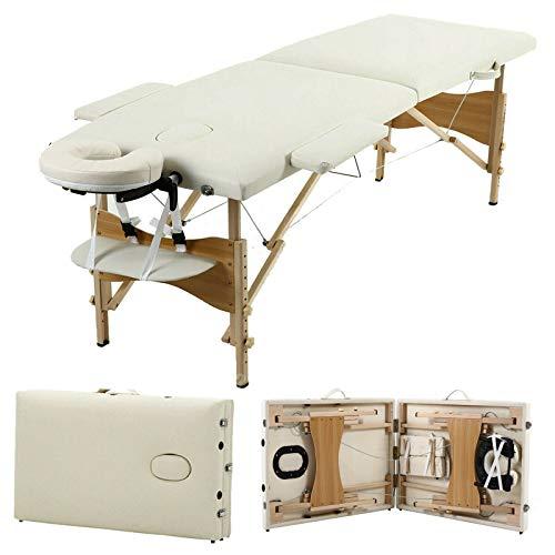 Massageliege, tragbar, 2 Abschnitte, zusammenklappbar, leicht, höhenverstellbar, für Schönheitssalon, Tattoo-Therapie, max. Tragkraft, Holzrahmen, Schwarz