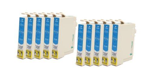 Silvertrade - 10 x kompatible XL Tintenpatronen mit CHIP, kompatibel zu Epson (10x cyan T0712) für Epson Stylus D120 D120 Network Edition D78 D92 DX4000 DX4050 DX4400 DX5000 DX6000 DX6050 DX7000F DX7400 DX7450 DX8400 DX8450 DX9400F DX9400F Wifi-Edition Office B40W Office BX300F Office BX600FW Office BX610FW S20 S21 SX100 SX105 SX110 SX115 SX200 SX205 SX210 SX215 SX400 SX400 WiFi SX405 SX405 WiFi SX410 SX415 SX425 SX510W SX515W SX600FW SX610FW
