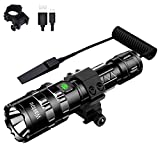 Tactical Flashlight, Wastou 1200 Lumen Super Bright Pocket-Sized 5 Modes Outdoor Hunting LED Flashlight with Rechargeable 18650 Batteries and Remote Pressure Switch, for Camping, Biking, Walking