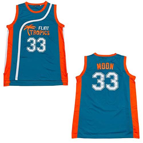 Rainbow Hawk Mens Jackie Moon Jersey 33 Flint Tropics Movie Basketball Jersey, Green, Large