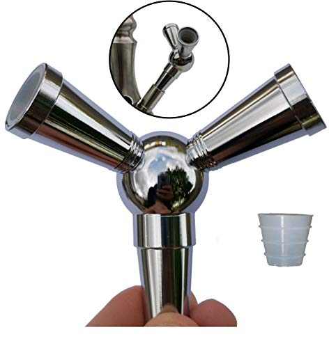 FlyCol Shisha Schlauch Adapter | 1 zu 2 Verteiler zum Anschluss weiterer Schläuche an deiner Wasserpfeife | Splitter Zubehör Schischa Feder Erweiterung (Silber)