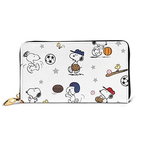 Snoopy Cartera de cuero multifuncional de alta capacidad RFID patrón de impresión cremallera carteras largo titular de la tarjeta de crédito para hombres mujer