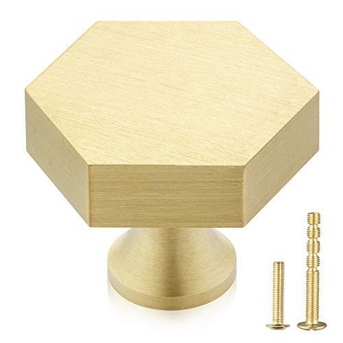 QogriSun 10-Pack Solid Brass Hexagon Cabinet Knobs, 1-1/10-Inch Diameter, Gold Decorative Dresser Drawer Pulls Handles, Pure Copper Kitchen Hardware, Brushed Finish