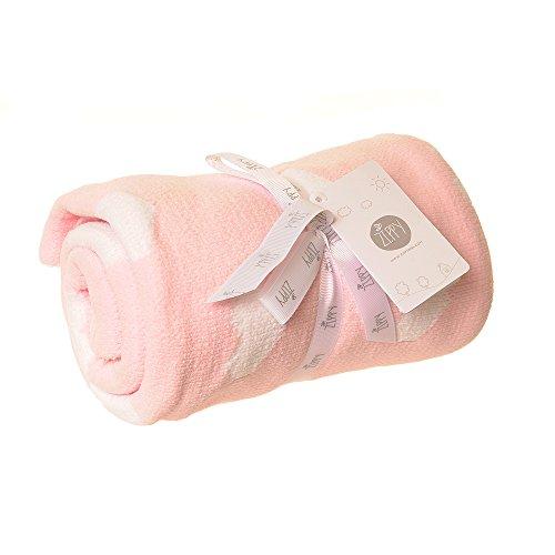 Ziggle babydecke in empfindliche chenille rosa und weiße herzen für kinderbett und kinderwagen 100cm x 70cm neues baby-geschenk