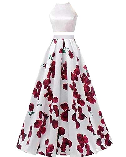 Dydsz Halter Floral Print Prom Dress 2 Piece for Women Homecoming Dresses with Pocket D295 2-Halter4 2