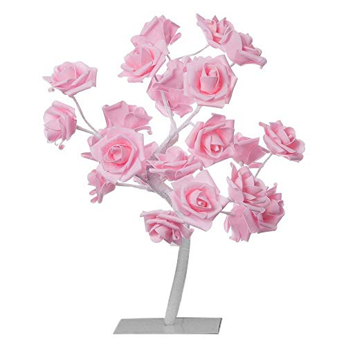 Furnizone Table Lamp Rose Tree Lamp with AC Adapter Flexible Pink Flower Desk Lamp Bedside Lamp Tree Light for Party Bedroom Living Room Wedding Holiday Home Indoor Decoration 24 Warm White LEDs
