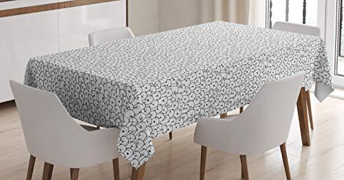 ABAKUHAUS Oso Polar Mantele, Arctic Animal Multitudes, Fácil de Limpiar Colores Firmes y Durables Lavable Personalizado, 140 x 200 cm, En Blanco y Negro