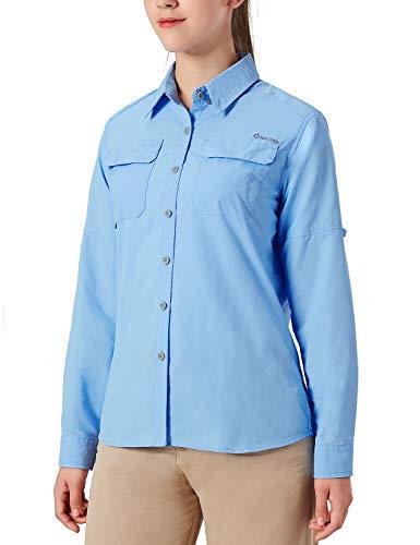 NAVISKIN Damen Bluse UPF 50+ Sonnenschutz Langarmbluse Outdoor Ultraleicht Wanderhemd schnelltrocknend Langarmshirt Hellblau Größe XL