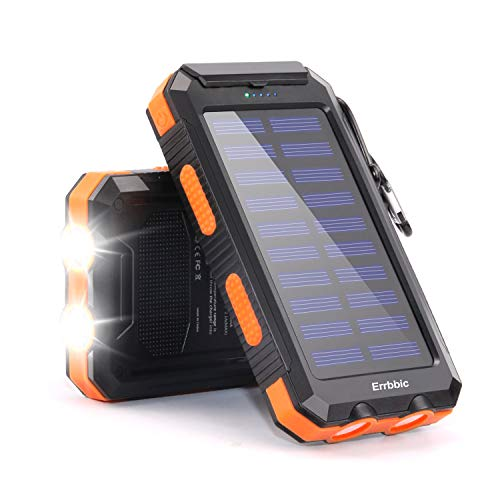 20000mAh Solar Power Bank Solar Charger Waterproof Portable Battery Charger with Compass for iPad iPhone Android Cellphones (Orange)