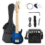 Lagrima, Kit guitare électrique 30'avec amplificateur 5W, sac, sangle, ficelle, câble, plectres, noir + bleu