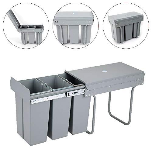 Jintaihua Mülleimer Einbau Unterschrank, Mülleimer Küche ausziehbar, Platzsparendes Vollauszug Küchen, 3 x 10L Einbaumülleimer, Einbau Abfallsammler, Trennsystem, Bodenmontage