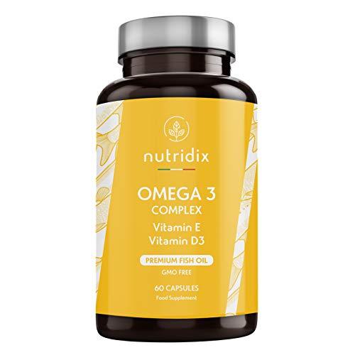 Omega 3 2000 mg per Dose - Acidi Grassi Essenziali DHA ed EPA - Olio di Pesce Puro ad Alta Concentrazione con Vitamina D ed E - 60 Capsule Nutridix