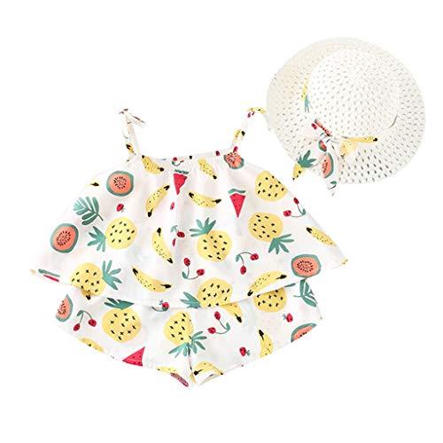 erthome Toddler Baby Kids Girls Set, Fruit Strap Tops Shorts Tenues Chapeau Vêtements décontractés 12Mois-5Ans (18-24 Mois, Jaune)